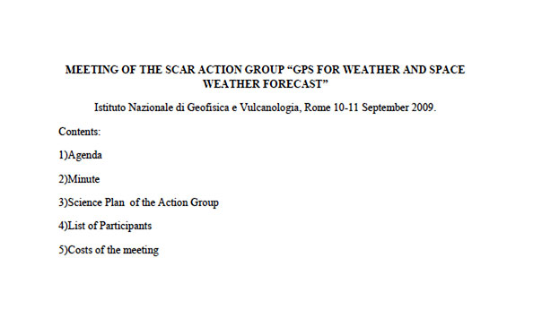 "Meeting of the SCAR Action Group ""GPS for Weather and Space Weather Forecast"""