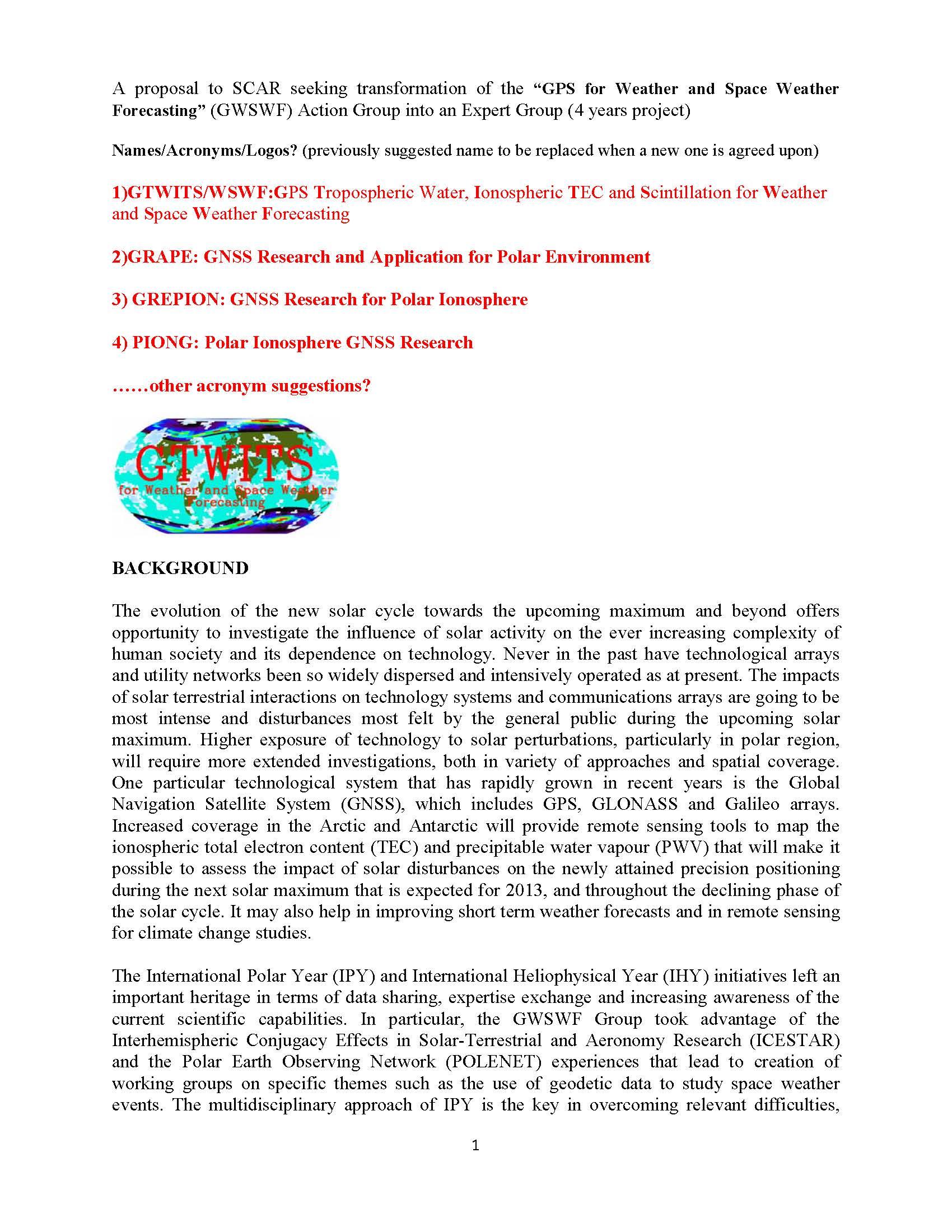 Expert Group Proposal (draft)